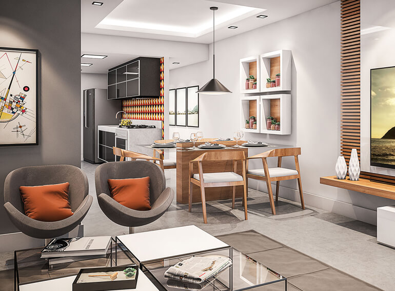 Sala do Apartamento Tipo Vinicius Bait