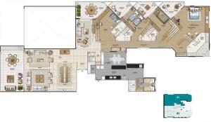 Planta baixa 3D - Metragem: 366 m² • Quartos: 4 • Suítes: 4