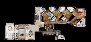 Planta baixa real - Metragem:366 m² • Quartos:4 • Suítes:4