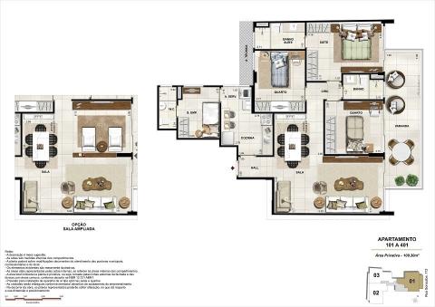 Planta Baixa 3D - Metragem: 109 m² - Quartos: 3 - Suíte: 1