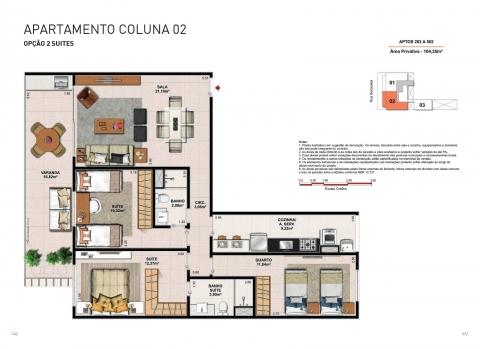 Apto. Tipo - Coluna 02 - 104,35 m² - Apartamento com 3 quartos, 2 suítes e 2 vagas na garagem.