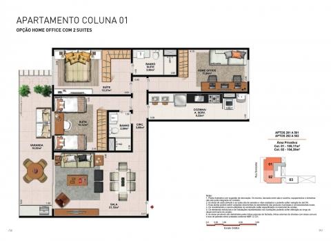 Apto. Tipo - Coluna 01 - 105,17 m² - Apartamentos com 3 quartos, 3 suítes e 2 vagas na garagem.