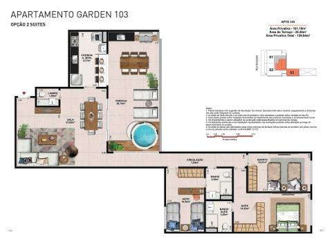 Apto. Garden - Coluna 03 - 129,64 m² - Apartamento com 3 quartos, 2 suítes e 2 vagas na garagem.