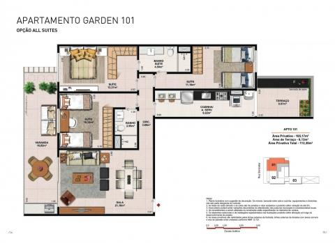 Apto. Garden - Coluna 01 - 113,30 m² - Apartamento com 3 quartos, 3 suítes e 2 vagas na garagem.
