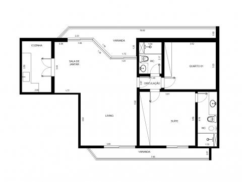 Planta Baixa - 93 m² - 2 quartos - 1 suíte