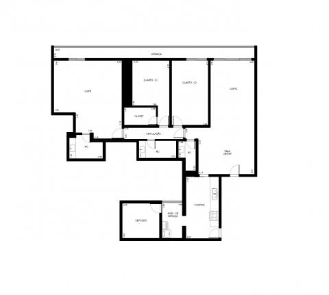 Planta Baixa - 141 m2 - 4 quartos - 2 suítes