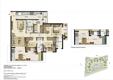 Planta baixa 3D - 3 Quartos - 120 m² - 2 vagas