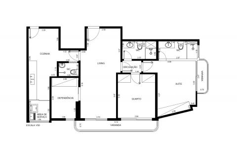 Planta Baixa - 2 Quartos - 1 Suíte - 85 m²