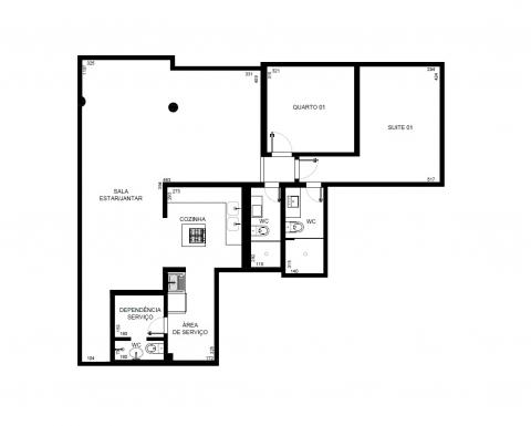 Planta Baixa 3D - 101 m² - 3 quartos transformados em 2 quartos