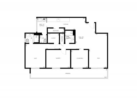 Planta Baixa - 3 quartos -112 m²